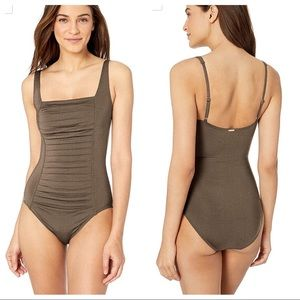 Calvin Klein Pleated Front One Piece Bathing Suit